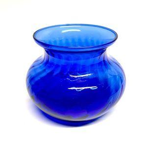 Vintage Cobalt Blue Glass Flower Vase- Short